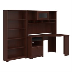 Bush Cabot Corner Desk with Hutch and 5 Shelf Bookcase in Cherry
