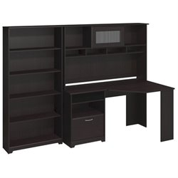 Bush Cabot Corner Desk with Hutch and 5 Shelf Bookcase in Espresso Oak