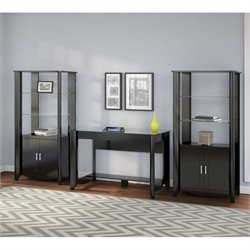 Bush Aero Computer Desk with Curio Cabinet in Classic Black