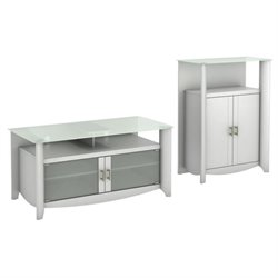 Bush Aero TV Stand with Medium Storage Cabinet in Pure White