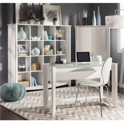 Bush Aero Computer Desk with Bookcase in Pure White
