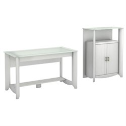 Bush Aero Computer Desk with Medium Storage Cabinet in Pure White
