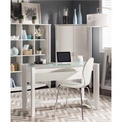 Bush Aero Computer Desk with Tall Storage Cabinet in Pure White