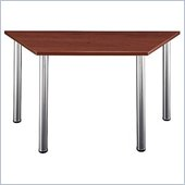 Bush Aspen Trapezoid Table with Wood Top and Metal Legs