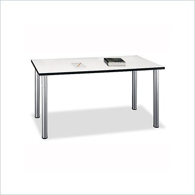 "Bush Aspen Large 57"" Rectangular Table in White Spectrum"