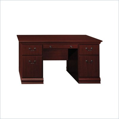 Bush Birmingham Executive 60&quot; Computer Desk in Harvest Cherry Finish