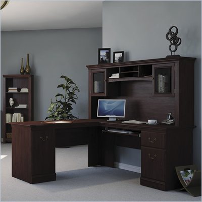 Bush Burgess L-Shaped Desk and Hutch in Harvest Cherry