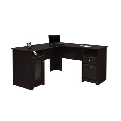 Bush Cabot 60&quot; L-Shape Computer Desk in Espresso Oak