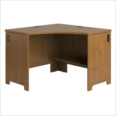 Bush Envoy Wood Corner Desk in Natural Cherry