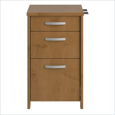 Bush Envoy Wood 3 Drawer Pedestal in Natural Cherry