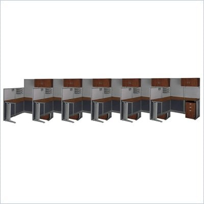 Bush Office-in-an-Hour 6 Desk L Shaped Office Suites Cubicle Set