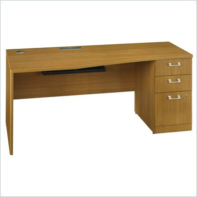 "Bush Quantum 72"" Wood Desk with Pedestal in Modern Cherry"