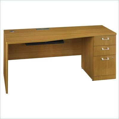 Bush Quantum 72&quot; Wood Desk with Pedestal in Modern Cherry