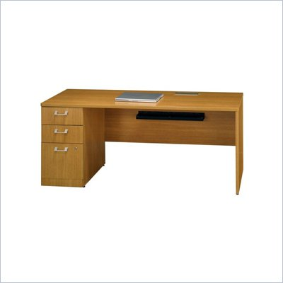 "Bush Quantum Modern 72"" Left Wood Credenza with Pedestal in Cherry"