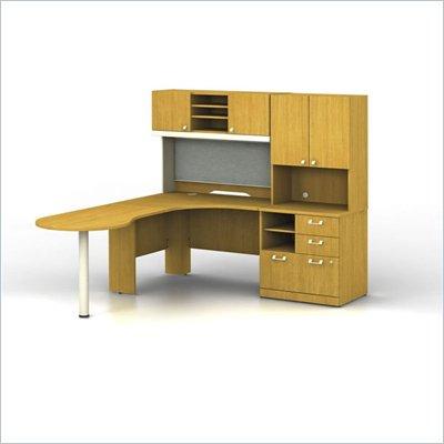 Bush Quantum Left L-Shaped Desk with Hutch in Modern Cherry