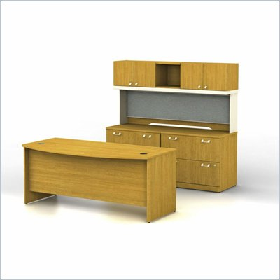 Bush Quantum Modern Cherry Executive Bow Front Desk Office Suite