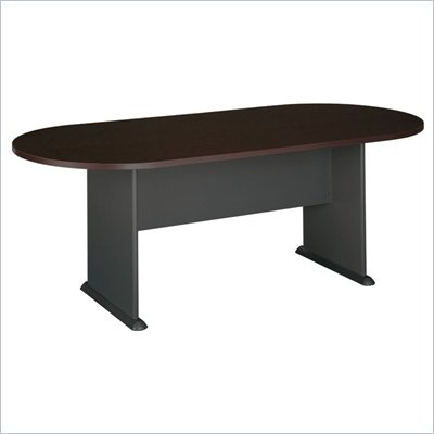 Bush Racetrack 6.9 Conference Table with Slab Base in Cherry and Gray