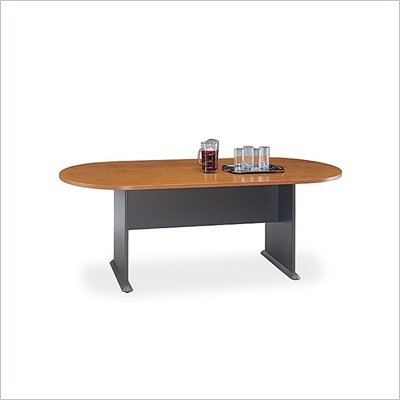 Bush Racetrack 6.9 Conference Table with Slab Base in Natural Cherry and Graphite Gray