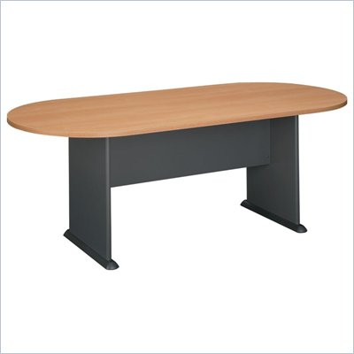 Bush Racetrack 6.9 Conference Table with Slab Base in Light Oak &amp; Gray