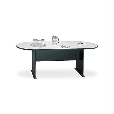 Bush Racetrack 6.9 Conference Table with Slab Base in Slate