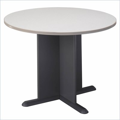 Bush Round 3.4 Conference Table with X-Shaped Base in White Spectrum