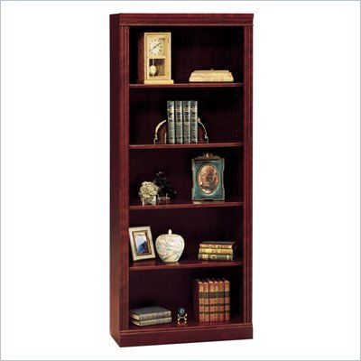 "Bush Saratoga 5 Shelf 71""H Wood Bookcase in Harvest Cherry"