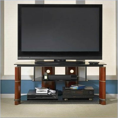 Bush Segments Wood TV Stand in Rosebud Cherry