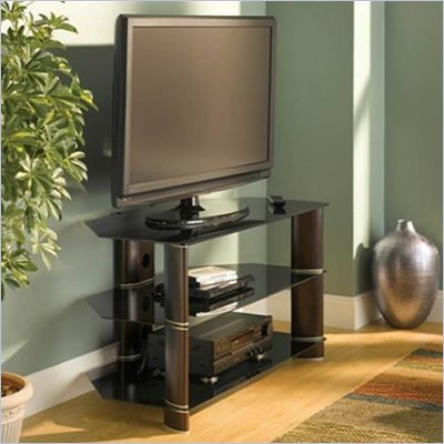 Bush Segments Wood Corner TV Stand in Espresso