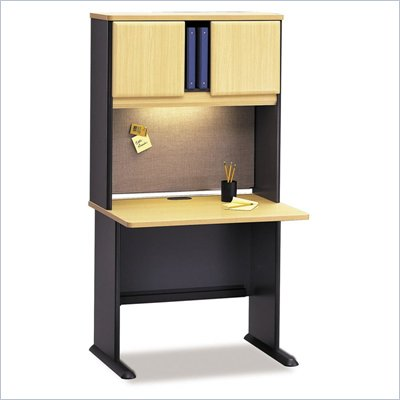 Bush Advantage Series Wood Writing Desk with Hutch in Beech and Gray