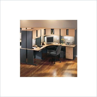 Bush Series A Beech and Grey Advantage Corner Desk Office Suite with Hutch
