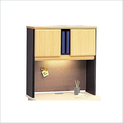 "Bush Series A 36"" Wood Hutch in Beech and Grey"
