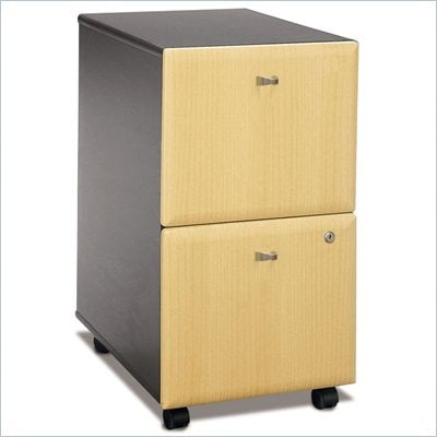 Bush Series A 2 Drawer Vertical Mobile Wood File Cabinet in Beech and Grey
