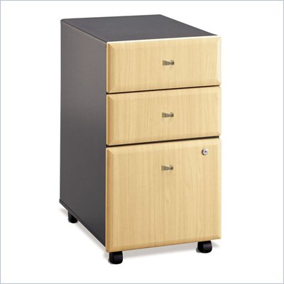 Bush Series A  3 Drawer Mobile Vertical Wood File Storage Cabinet in Beech and Gray