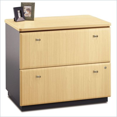 Bush Series A 2 Drawer Lateral Wood File Storage Cabinet in Beech and Gray