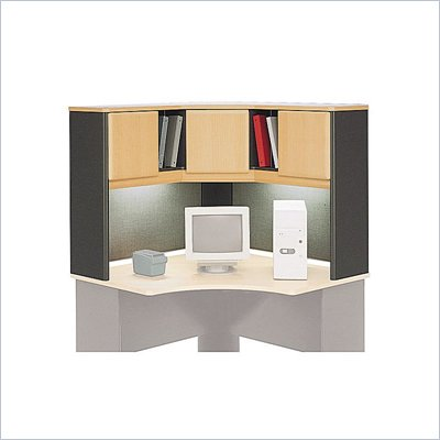 Bush Series A Wood Corner Hutch in Beech and Grey