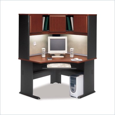 Bush A-Series Corner Wood Office Desk with Hutch in Hansen Cherry