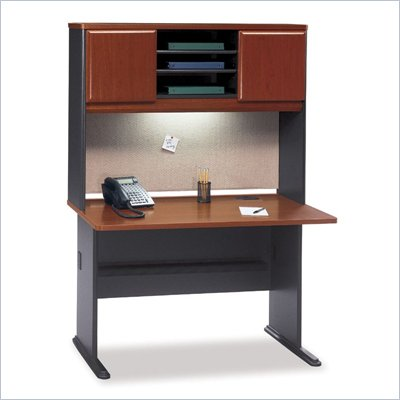 Bush Series A Wood Office Cubicle with Hutch in Hansen Cherry