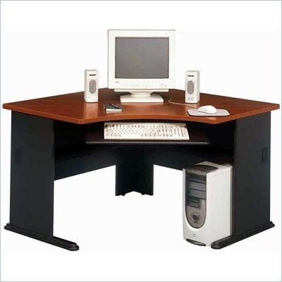 Bush Series A Corner Wood Computer Desk in Hansen Cherry