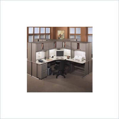 Bush Office Computer Desk Light Oak Advantage Series Cubicle Set