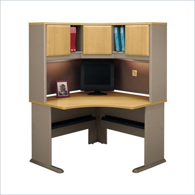 Bush Series A Wood Corner Desk in Light Oak