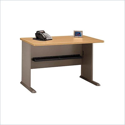 "Bush Series A 48"" Wood Credenza Desk in Light Oak"
