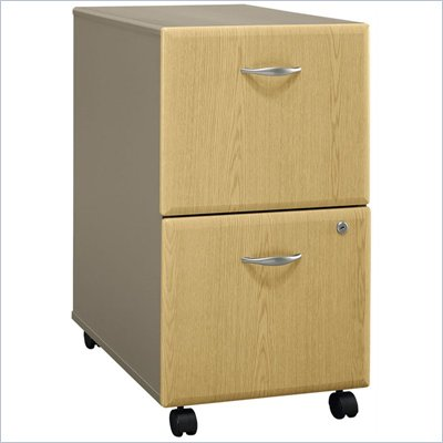 Bush Series A 2 Drawer Vertical Mobile Wood File Cabinet in Light Oak