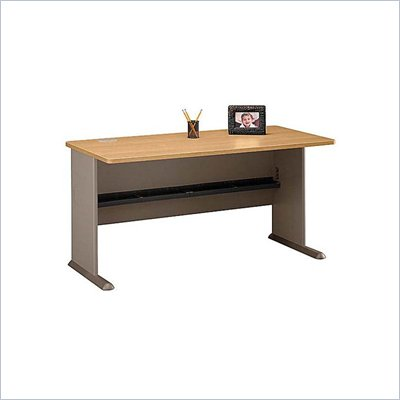 "Bush Series A 60"" Wood Credenza Desk in Light Oak"