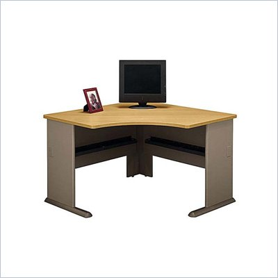 Bush Series A Corner Wood Computer Desk in Light Oak