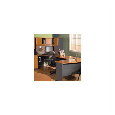 Bush Natural Cherry and Slate Advantage Series U-Shape Computer Desk with Hutch