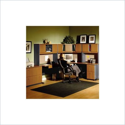 Bush A-Series Right L-Shape Office Suite in Natural Cherry and Slate