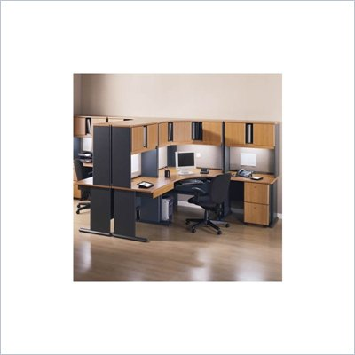 Bush Advantage Series Corner Computer Desk with Hutch Natural Cherry and Slate Finish