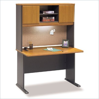Bush Advantage Series 48&quot; Wood Computer Desk with Hutch in Natural Cherry and Slate
