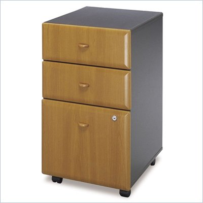 Bush Series A 3 Drawer Vertical Mobile File Storage Cabinet in Natural Cherry