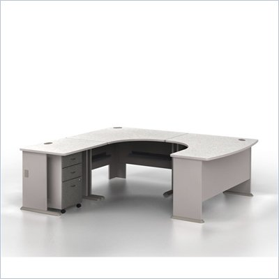 Bush Series A Left-Facing U-Shaped Desk Bundle in Pewter